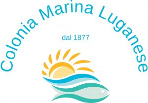 Logo Colonia Marina Luganese dal 1877 con sole mare e pesce stilizzati colorati